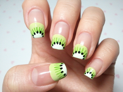 fuckyeahnailart:  sweetnailart:  click through for tutorial (in my korean blog) kiwi fruit nailart  Fruit tips: possibly the most adorable summer nails I can imagine.