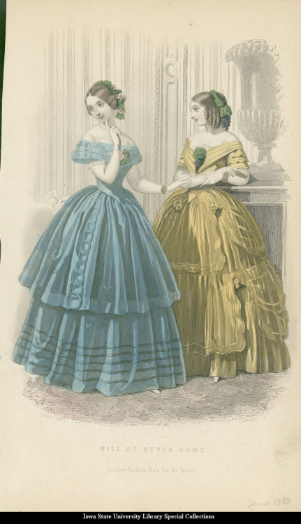 Evening dresses, 1850 United States, Godey's Fashions
