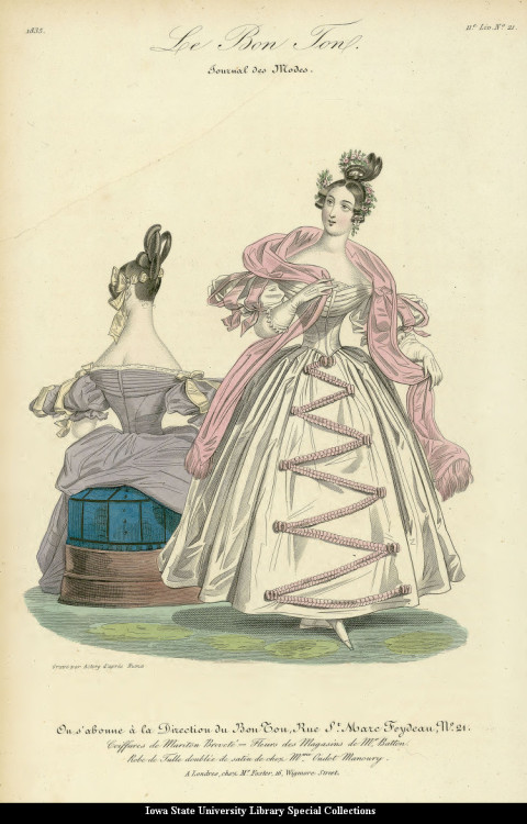 Fashion plate, 1835 United Kingdom, Le Bon Ton That back view argghhhh!  Sometimes the shoulders on Romantic-era plates look absolutely painful.