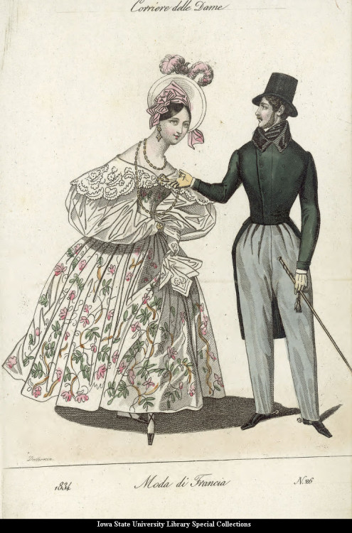 Walking dress for men and women, 1834 Italy, Moda di Francia Attack of the giant woman He seems to be trying to push her away, but she is merciless.