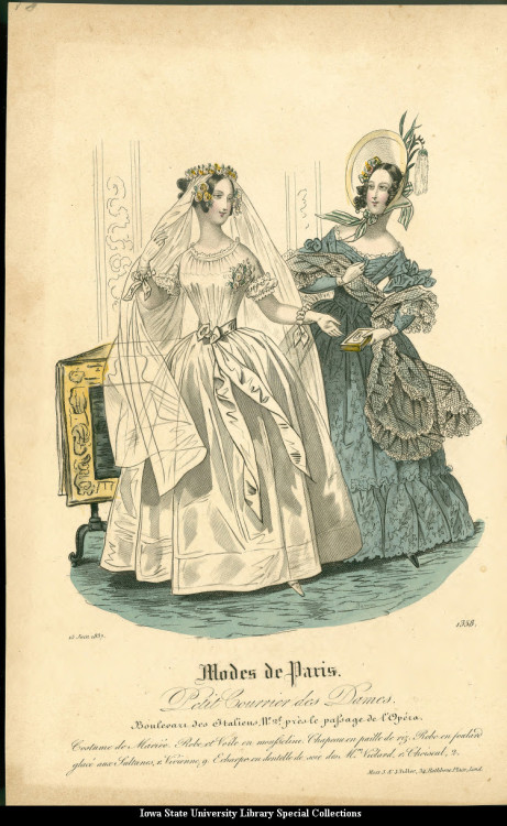Dress and wedding dress, 1837 United Kingdom, Petit Courrier des Dames