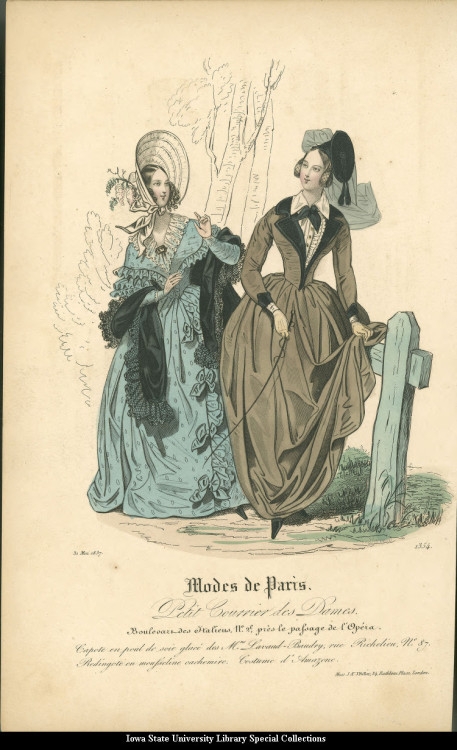 Walking dress and academic-style riding habit, 1837 United Kingdom, Modes de Paris