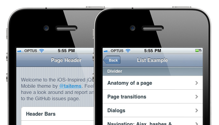 iOS Inspired jQuery Mobile Theme jQuery Mobile doesn't deviate far from the pattern established by its sibling libraries: provide something that normalises functionality and/or design across browsers and operating systems.  The work by the Filament Group has been vital for standardising the look and feel of jQuery Mobile, especially when dealing with incredibly dated or under-featured mobile browsers. Borrowing upon conventions established by both the iOS and Android operating systems, they created something that is palatable across a range of devices. There will be odd instances when you need an application to look as close to native as possible. I completely agree with the Filament Group's arguments against this, but currently designers are forced to roll their own solution. What I have created is the beta framework for an iOS-inspired theme that attempts to bring jQuery inline with the native iOS UI elements. I actually began this project when the first alpha was released, but with taking on a new job and other responsibilities, I found myself lagging behind the release schedule. I'm not sure of the response this will get, so hopefully I can gauge how much time I should spend on this in future.  But without further ado: here is the iOS-inspired theme for jQuery Mobile. It works great in Chrome, Safari, iPhone and iPad mobile Safaris.    Some Caveats To achieve the look of the iOS style back button with CSS3, the HTML is customised and therefore must be copied and pasted manually. The back button template can be found in the GitHub readme file. The CSS3 back button isn't perfect, there are some jaggedness and shadow issues. Plenty of elements still remain unstyled, or are missing hit state styling. Cross browser compliance is a low priority. This is an add-on theming layer. It was impossible to fork the actual jQuery Mobile theme and attempt to keep up with their changes, so this just sits as a skinning layer on top. Some Issues This Exposes in jQuery Mobile Dialogs need some serious work. I could have spent a lot of time and made my dialogs look exactly like the iOS ones, but this would have involved some pretty hectic CSS and JavaScript. As is I had to do a bit of a work around to get them to dock to the bottom and not the top. Most notably broken, the inability for these dialogs to behave like modals - showing the background as obscured. Back button syntax. They're are definitely some cleaner ways to create the iOS style back buttons. I was keen to avoid images, but an image mask might have done really well in this situation. Regardless of that, you will probably find yourself plugging in custom HTML when working with jQuery mobile, and not just the buttons. It's bloody hard to keep up with the release cycle. This is not a bad thing ;) I am, as always, open to merging pull requests and suggestions to help improve this project. I must also stress that it is important that truly innovative changes best be held off until jQuery Mobile makes it out of beta. ■