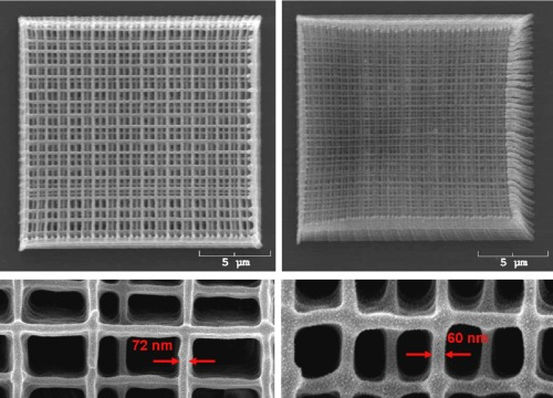 scienceisbeauty:  Scanning electron microscope images of photonic crystal structures shown at (a) higher power and at (b) lower power using DABP. Magnified images of the structures are shown below their respective overview images. Source:Absorbing Molecules Produce 65-Nanometer Patterns,NanoTECH @ Georgia Tech