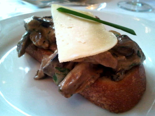 Wild Quebec mushroom with a special homemade cheese on Crostini from Les Nuits Borgia at Le Maitre Chocolatier