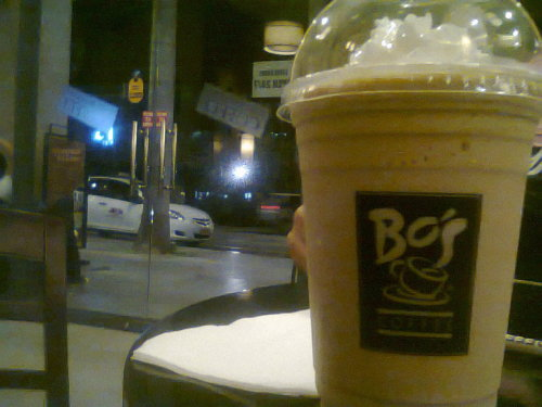 Spent the first hours of Thursday (last week) at Bo's Coffee, Glorietta 5. That coffee shop will always be special. Talks that make a lot of sense happen there — heartbreaks, dreams, frustrations, realizations, discussions, glee, happiness and a lot more. I can't remember the last time I visited the place. Not to mention that I needed, ok, still need to refrain from drinking caffeinated, anything with coffee drinks. So last Thursday was nostalgic. White chocolate coffee-blended cold drink plus blueberry cheesecake. I miss.