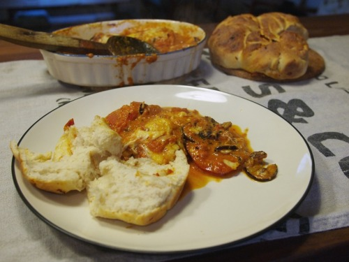 Aubergine parmigiana with homemade bread