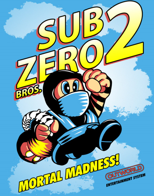 justinrampage:  Sub-Zero and Mario join forces to drop fatality bombs all over the Mushroom Kingdom! Rad Mortal Kombat / Super Mario Bros. mash up by Timothy Lim. Related Rampages: A Fisftful of Rupees | 20XX World's Fair (More) Sub Zero Bros 2 by Timothy Lim / ninjaink