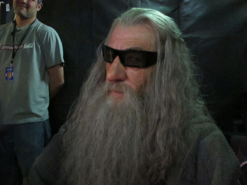 Peter Jackson snapped this picture of Sir Ian McKellan as Gandalf on the set of The Hobbit, which is being filmed in 3D.  Even wizards have to wear the glasses.  [via Neatorama]