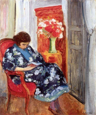 stilllifequickheart:  Henri Labasque Young Woman Reading 1920