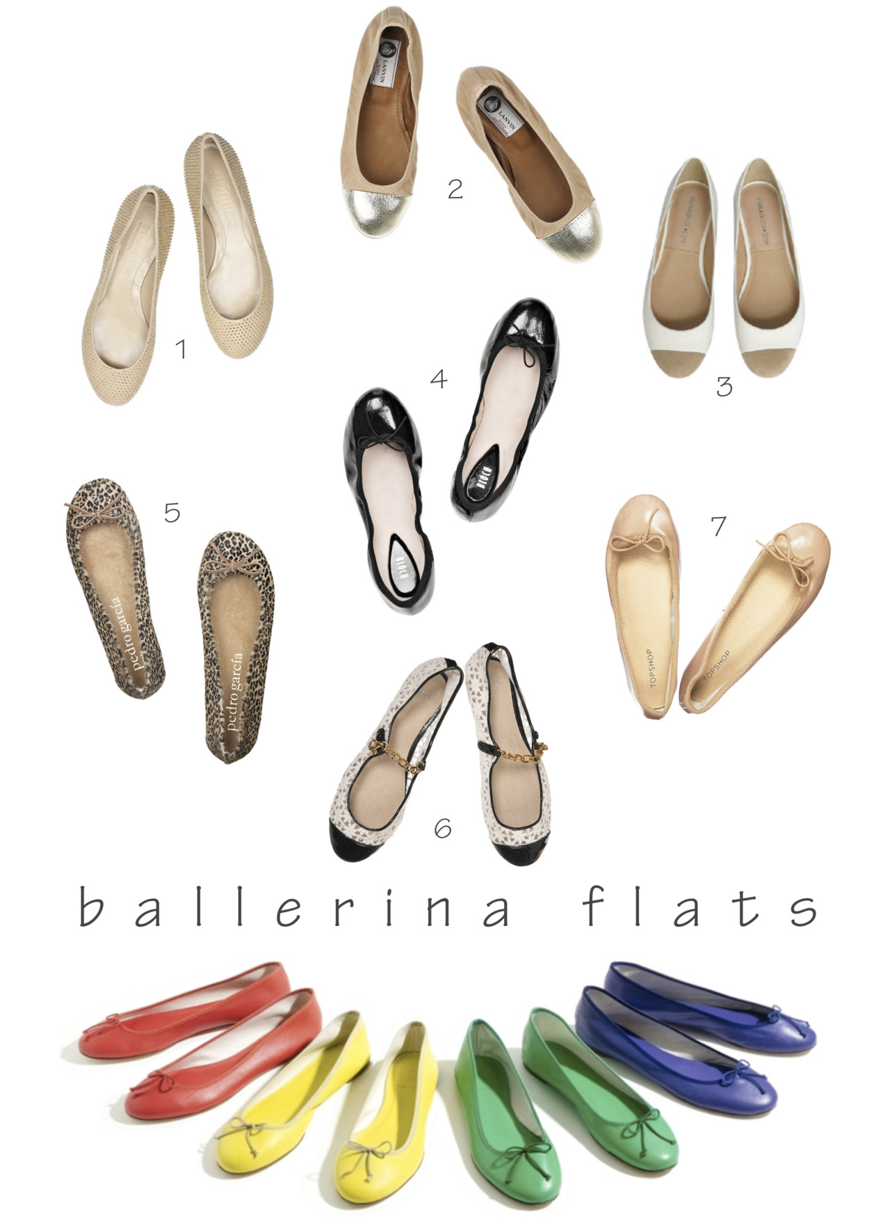 Rosa Loves… Ballerina Flats. I basically live in ballerina flats not only because they are perfect for walking around the city, but also because they go with any outfit. Among my favorite types of ballerina flats are: a classic black pair for a chic look à la Audrey Hepburn,  a nude ballerina flat because it goes with everything and elongates the leg,  a fun leopard print,  an elegant two-tone version,  and colorful flats to add a pop of color to an outfit.  Do you love ballerina flats as much as I do? {Photos via 1, 2, 3, 4, 5, 6, 7, and J.Crew}