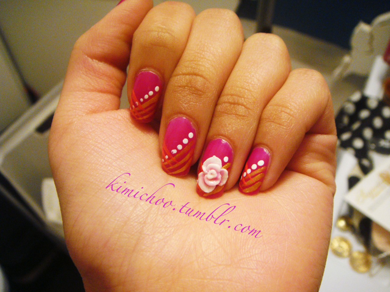 i did my own nail polish, but someone else did the 3D flower for me! check out their salon if you're in the GTA area… *sparks salon on king st. west*