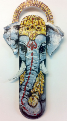 "Untitled (portrait of Ganesh) approx 32x7.5"" Mixed media on skateboard deck [sold]"