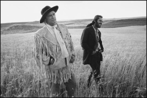 Marlon Brando and Jack Nicholson on location in Montana, The Missouri Breaks, Billings, Montana, by Mary Ellen Mark, 1975