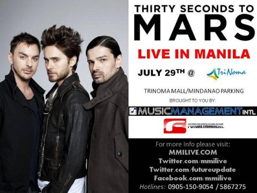 30 seconds to mars live in Manila!  F*ck! tickets are too expensive :/