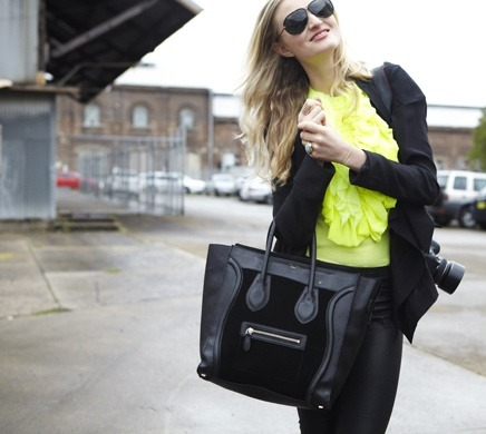 I am in LOVE with my Rue du Mail fluro top.  IN LOVE. Photographer Soraya Zaman shot me for Romy Frydman's blog, StyleMeRomy