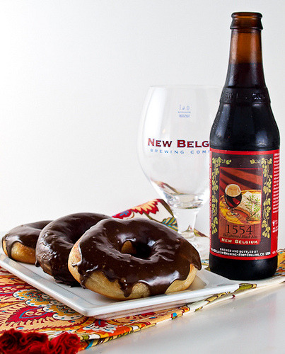 cupcakes-for-breakfast:  Evil Shenanigans | 1554 Black Ale Doughnuts with Mocha Black Ale Glaze
