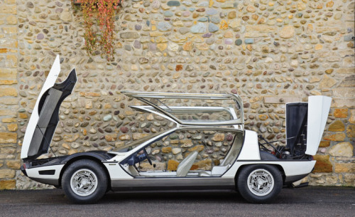 Bertone classic concept car auction, Lake Como 1967 Lamborghini Marzal Penned by another Italian design legend Marcello Gandini - the man behind the Lamborghini Miura and Countach - the Marzal is a four-seat sportscar with enormous glass gull-wing doors and a transparent roof to aid access and light into the car. The concept was driven by Princess Grace at the start of the 1967 Monaco Grand Prix and eventually evolved into the Espada production car