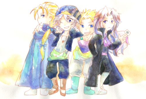 [Picture: Sabin, Edgar, Locke, and Setzer from FF6. Lock has his arms around Sabin and Edgar with a smile and Sabin is smiling at Setzer who is trying to play it cool. Edgar has is back to the camera and a slight smile on his face like he can't help himself.]