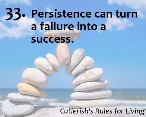 33. Persistence can turn a failure into a success.  I nearly failed out of undergrad a couple years before I got into graduate school. I didn't get into a thesis program, so I strove to impress professors I wanted as supervisors by taking coursework only, and had one by second semester. Not everything that seems hopeless should be given up on.  More Cutlerish's Rules for Living