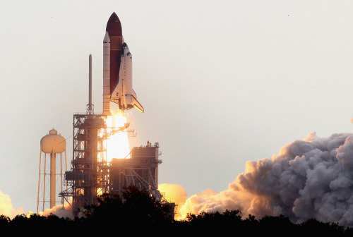 Space Shuttle Endeavour's final liftoff, as STS-134. The youngest shuttle will soon permanently reside in California. (Mark Wilson/Getty Images)