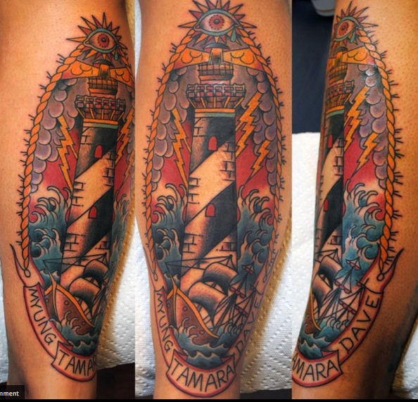 fuckyeahtattoos:  This is my shin done by Brian Marsman at Powerhouse Tattoo in Montclair, NJ.  I got this as sort of a tribute to my family for still supporting me through all the shit i've put them through over the years.  Brian Marsman is the man, and does some amazing work, if you need anything, please make sure to go to him at Powerhouse!