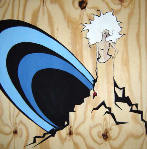 Painting on wood by Stacey Flygirrl Wilson