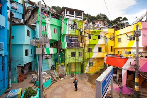 The aesthetics of Joy. Love it. jayparkinsonmd:  peterfeld:  Favela, near Rio, painted slum by Dutch artists Jeroen Koolhaas and Dre Urhahn  Aesthetics of Joy is a blog and book-in-progress by Ingrid Fetell, exploring the intersection between design and positive emotion.