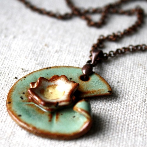 etsymethis:    Monet inspired- ceramic lily pad necklace