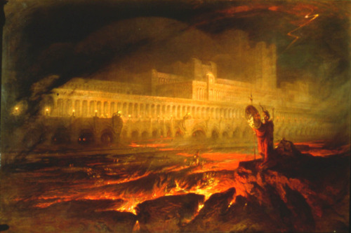 Pandemonium by John Martin (1789-1854). Pandemonium is the capital of Hell in the epic poem Paradise Lost by John Milton.