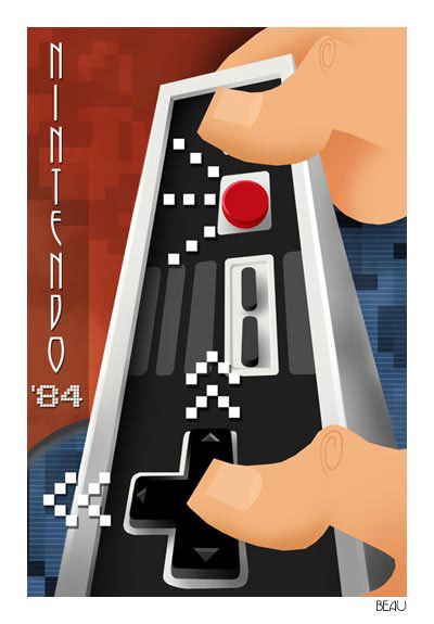I think this poster by Beau Baphat is the only Art Deco style computer game poster I've seen and it looks great!
