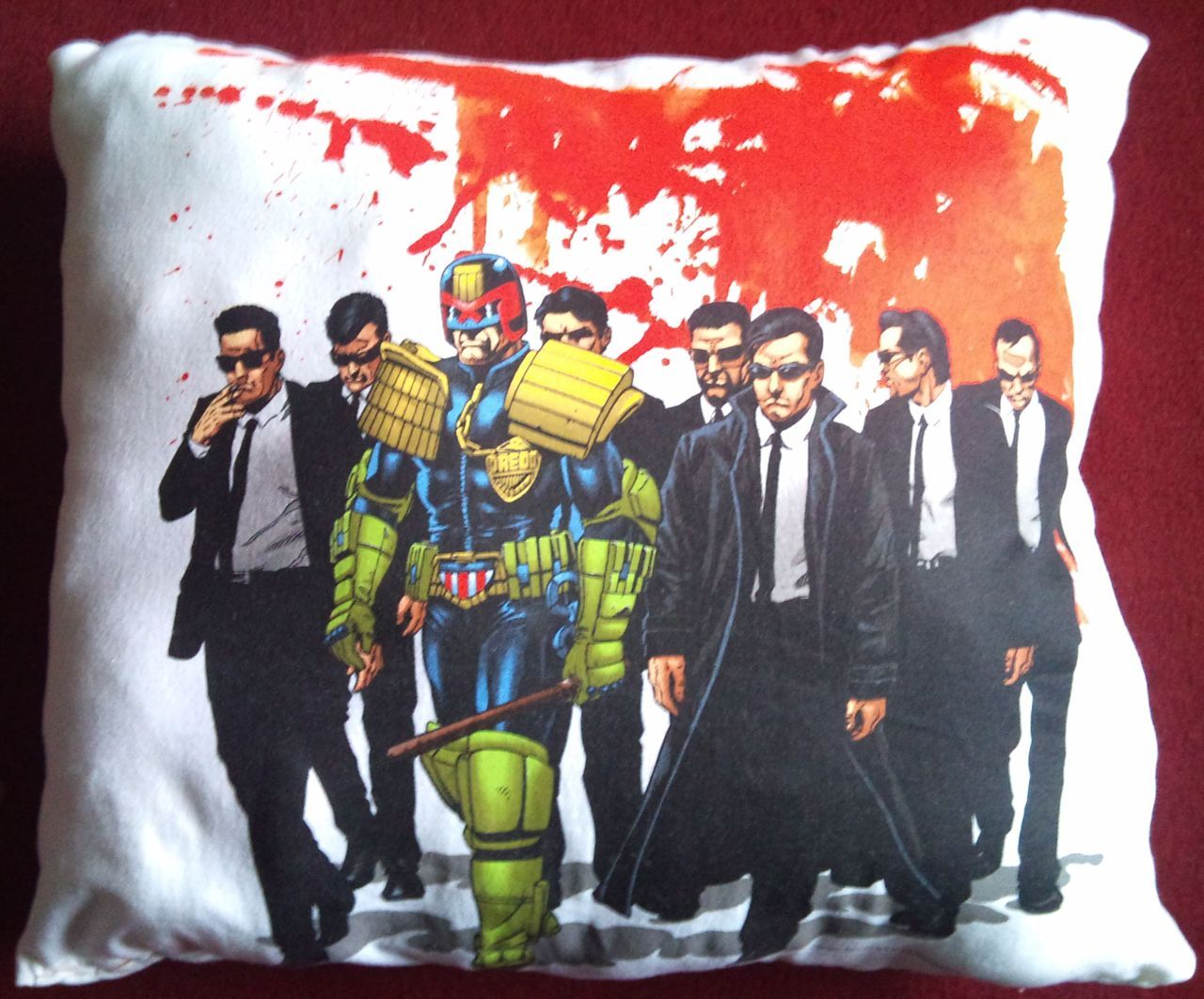 Just came home to discover Andrea has made this awesome cushion out of a 2000AD Judge Dredd T-shirt which was too big and therefore never worn. Outstanding recycling of a killer print, damn comfy too!!!
