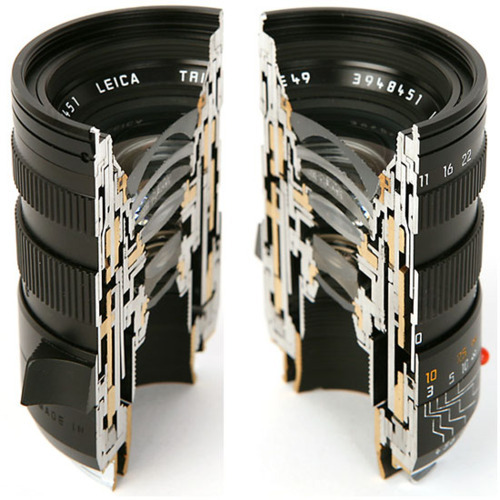Leica lenses cut in half.   Via