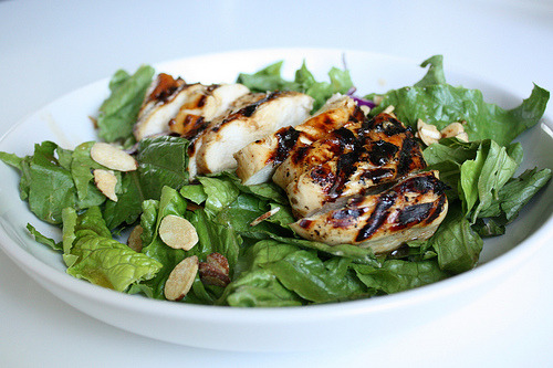 lovelylovelyfood:  DELIGHTFUL!!Grilled Raspberry-Chipotle Chicken Salad With Mixed Greens and Almonds
