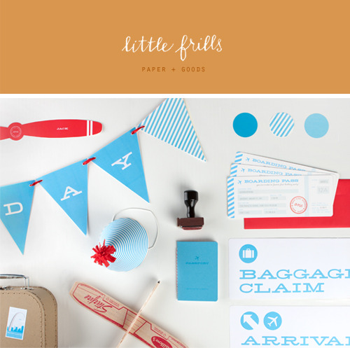 I am excited to announce the launch of LITTLE FRILLS paper + goods. I have received several requests from moms (and dads) wanting to purchase some of the details from Jaxon's first birthday party. So, I have set up shop with everything you need to plan your little ones travel themed party. More items to come soon! Please reblog and share with your friends…Thank you!