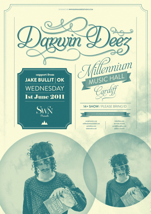 Swn presents…Darwin Deez, Millenium Music Hall, 1 June 2011. Click the poster for the event page. Poster by Carl at Burning Red.