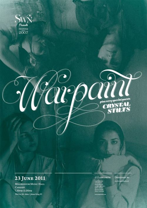 Swn presents…Warpaint, Millenium Music Hall, 23 June 2011. Click the poster for the event page. Poster by Carl at Burning Red.