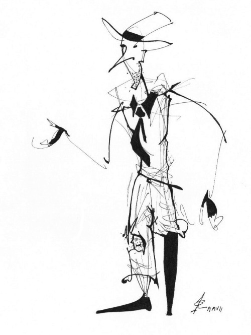 "One from the archive: A quick ink sketch of a beaky, one-legged beggar man. At one point I tried to ""clean it up"", and got rid of all those sketchy lines floating around him. The drawing lost 90% of its vitality and animation. I posted another sketch from this series a while back."