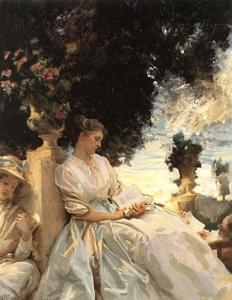 In a Garden, Corfu (Jane Emmet de Glehn) by John  Singer Sargent, 1909,Terra Museum of American Art, Chicago This is of one of my relatives that was painted by Sargent, he did another one and I will post that eventually too. I will also be posting paintings by a few of the Emmet painters from that era. http://en.wikipedia.org/wiki/Jane_Emmet_de_Glehn  Following her marriage to de Glehn, the couple honeymooned in Cornwall,  England and vacationed in Paris and Venice and made a permanent home in  London. In England Jane continued to draw and paint, exhibiting her work  at the New English Art Club, the Royal  Academy and the Royal Hibernian Academy. She worked mainly in  the mediums of chalk and charcoal. The young couple become frequent  travelling companions of the American painter John Singer Sargent, whom Jane Emmet de Glehn had  met at performance of the dancer Carmencita in 1890,[9] and between 1905 and 1914 the trio often depicted each other in each of  their works whilst travelling throughout Europe.[10]