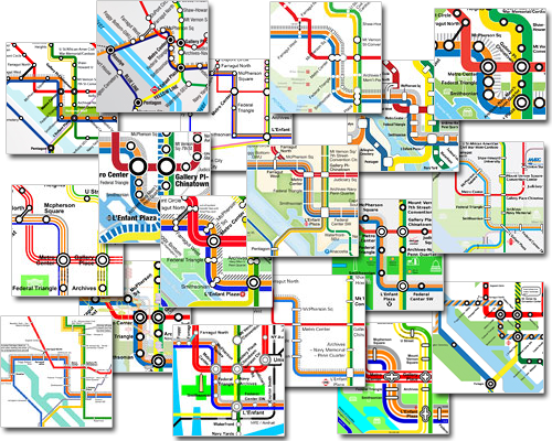 17 citizen-redesigned maps of DC's Metro. A couple months ago, the blog Greater Greater Washington challenged readers to create a better map for DC's subway system, including a new line scheduled to begin opening in 2013. Here are the results. Are there any better than the original?