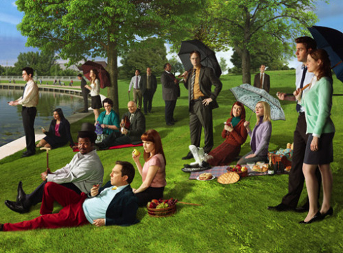 "mbrendanaquitz:  The Office cast re-interpreting the classic Georges Seurat painting ""A Sunday Afternoon."""