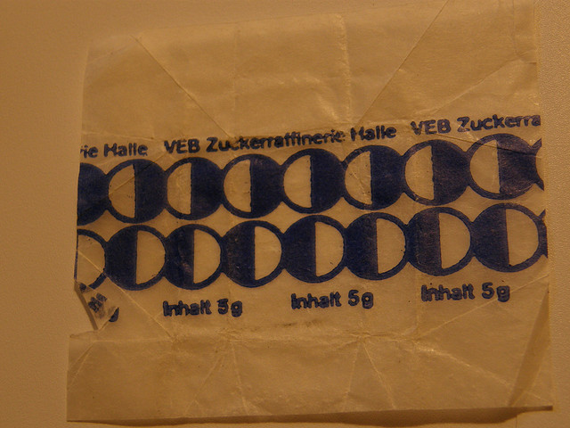 sugar cube wrapper from former East Germany by sugarpacketchad on Flickr.unbelievably, people collect sugar wrappers.