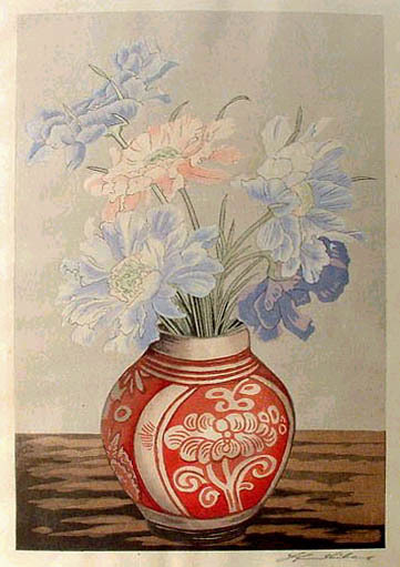Flowers in Red Vase by Yoshijiro Urushibara (self-published print)
