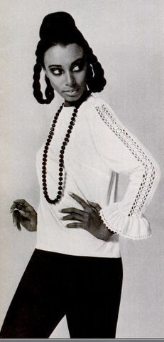 Donyale Luna in a 1965 ad for MacShore Classics.