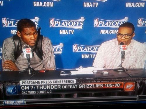 Russell Westbrook's glasses. I think they're on par with THE JACKET; the Recluse begs to differ. Certainly, when coupled with Durant's backpack, they come off as blipster Halloween get-ups. Also, they're an awesome metaphor for where Westbrook—the player I can't and won't stop writing about this spring—is at right now. From GQ.com:Sacrificing none of his explosiveness, or even his signature  unpredictability, Westbrook nevertheless acknowledged a team concept and  the need to make friends in public places. He became even harder to  figure out—more options in the basketball sense makes for more options,  metaphysically speaking, which means, really, anything could happen.  Except Westbrook also seemed to also embrace the possibility of control,  or maybe just agency, as a way to stay tethered to his team, this  planet, and the second before last. A minor fashion statement, maybe not even the lasting meme I had hoped for. But it's part of Westbrook coming into his own, and all of us hoping he ends up on the right side. This was some much-needed levity, and at the same time a reminder of why we care so much. Still trying to figure out how to tie this into Rashad McCants poem about glasses and soul (click here, scroll to the bottom). Help?(Photo via @LBSports)