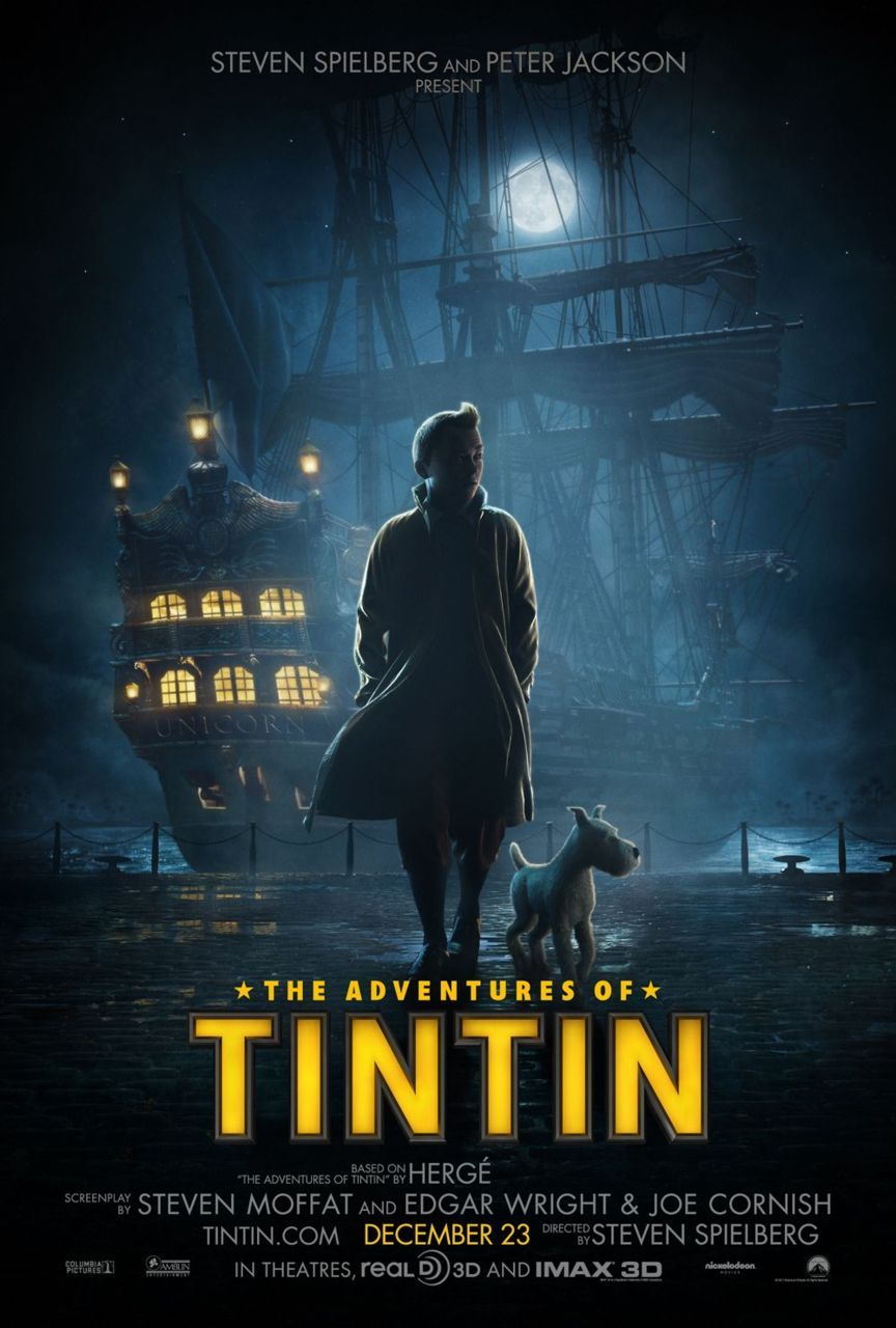 First poster for the Adventures of Tintin film coming out late 2011. I am so flipping excited for this! Tintin is one of those series that I was so surrounded by as a child, I can't really call myself a fan it's just part of my life. My long love of comics started with French/Belgium comics like Asterix and Tintin well before I was ever introduced to DC or Marvel. My father and I used to read Tintin together when I was very young, he does an impeccable Captain Haddock impression. Herge's characters being brought to life by the likes of Steven Moffat & Edgar Wright and with the expert direction of Spielberg. I really am giddy with excitement for this film. Billion of blue blistering barnacles! Onward to adventure! clamps:  First poster for Spielberg and Jackson's TINTIN. Oh my lordy lord mclorderson, I am excited.