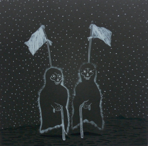 Brandon Siscoe needed a drawing of ghosts walking with canes and surrender flags. Gouache, 12x12 in.