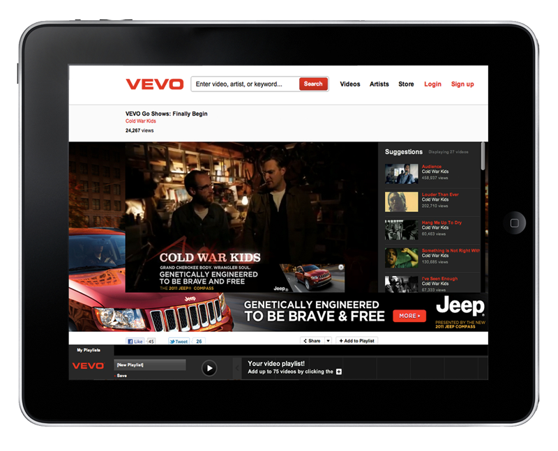 Jeep Compass x Vevo concert stunt with the Cold War Kids The Vevo relationship was created to spread the hotness and new modern design of the new Jeep Compass. Our concept, take it to the street with some of the dopest artist of today. It worked - over 1,400,000 youtube hits in 48 hrs. Art Director - Albert Loera ACD Writer - Aubrey Walker III