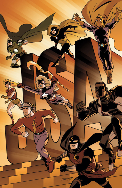 Darwyn Cooke knocks it out of the park with his cover for JUSTICE SOCIETY OF AMERICA #54. (Is that really Alan Scott's new costume, though? Ugh.)
