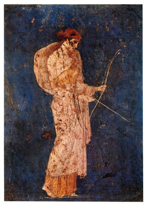 Roman fresco depicting Diana the huntress recovered from Vesuvian Ash in Stabiae 1st century BCE-1st century CE (22) Kiel Bryant